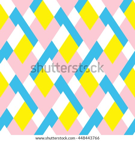 Vector geometric seamless pattern with lines and mosaic tile in blue, pink, yellow color. Modern bold print with diamond shape for fall winter fashion. Abstract tech op art background in memphis style
