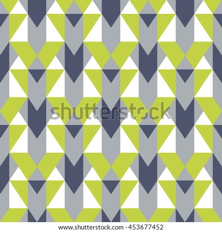 Vector geometric seamless pattern with lines and mosaic tiles in blue, grey, olive green, pastel color. Modern bold print with diamond shape for fall winter fashion. Abstract tech op art background