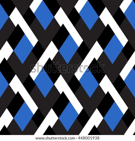 Vector geometric seamless pattern with lines and mosaic tiles in bright blue black and white