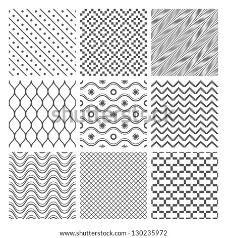 Vector Geometric Seamless Patterns Set. Monochrome Textures on white - stock vector