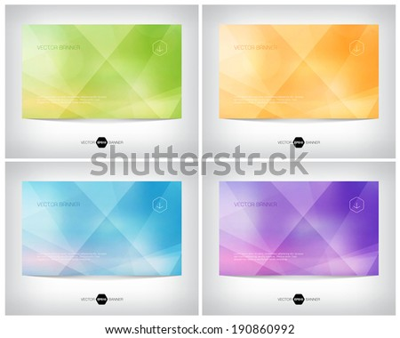 Vector geometric web banner, business card or flyer design. Modern triangular background. Paper origami effect. Clean and minimalistic style. - stock vector