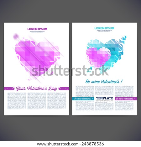 Vector geometrical composition of hearts on Valentine's Day, template design, brochure, web sites, page, leaflet, text separately.  - stock vector