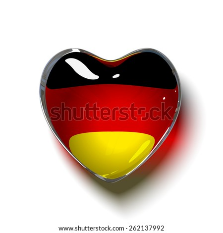 Vector. German heart. Glass heart with flag of Germany inside. isolated on white background. - stock vector