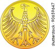 Vector Germany Money gold and silver coin with heraldic eagle isolated on a white background - stock vector
