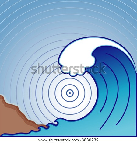 vector - Giant TSUNAMI ocean wave with epicenter waves. EPS8 compatible. Organized in layers for easy editing. - stock vector