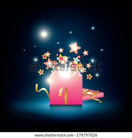vector gift box and star decorative, birthday and christmas celebration