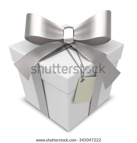 Vector Gift Box. Classic White Gift Box with Silver Ribbons. Blank Label for Copy Space.