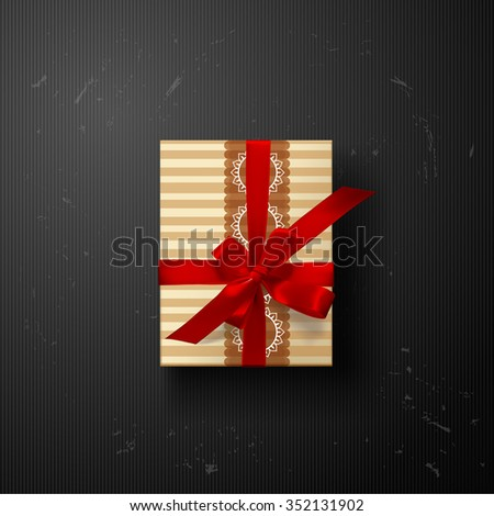 vector gift box on background. Color gift box with bows and ribbons - stock vector