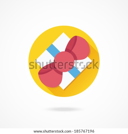 Vector Gift Box Top View Icon - stock vector