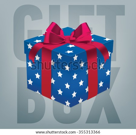 Vector gift box with a ribbon bow. Realistic present box.  - stock vector