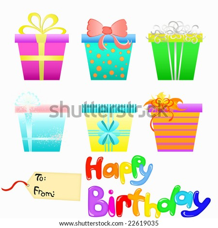 Vector Gift Boxes and Happy Birthday - stock vector