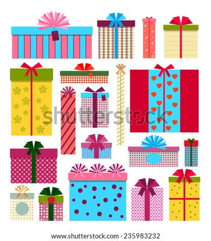 vector gift boxes icons isolated on white background - stock vector