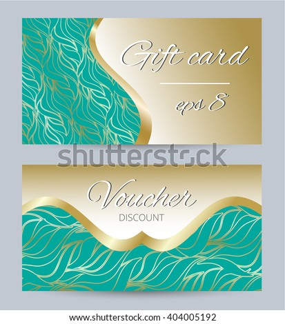 Vector gift card template with waves design. Design for voucher, gift card, postcard, discount card, price tag, coupon, certificate, web banner - stock vector