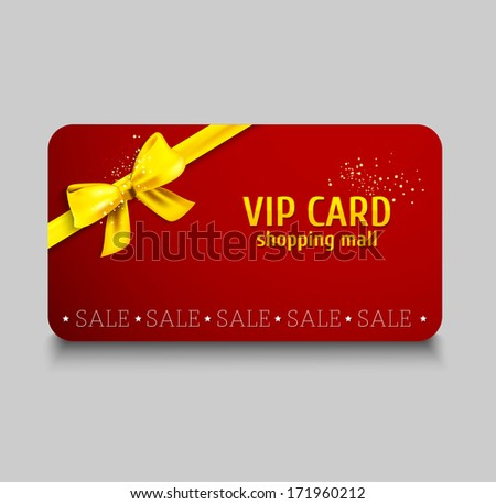 Vector gift cards.  Vip card with golden ribbon and gift bow. Sale banner.