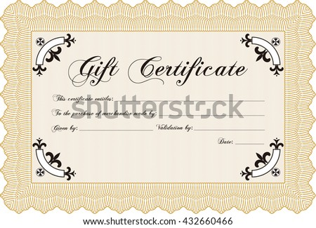 Vector Gift Certificate. Complex background. Customizable, Easy to edit and change colors. Excellent design.  - stock vector