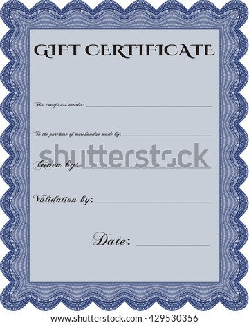 Vector Gift Certificate. Customizable, Easy to edit and change colors. Excellent design. Complex background.  - stock vector