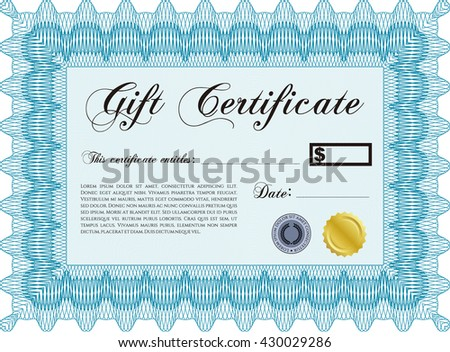 Vector Gift Certificate. Excellent design. Customizable, Easy to edit and change colors. With complex background.  - stock vector