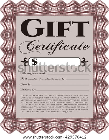 Vector Gift Certificate. Good design. Customizable, Easy to edit and change colors. With complex background.  - stock vector