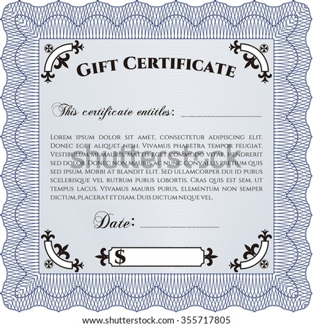 Vector gift certificate template excellent complex stock vector vector gift certificate template excellent complex design border framewith quality background yadclub Image collections