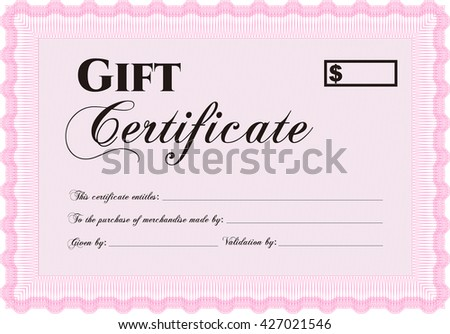 Vector Gift Certificate template. Excellent complex design. Vector illustration. With complex linear background.