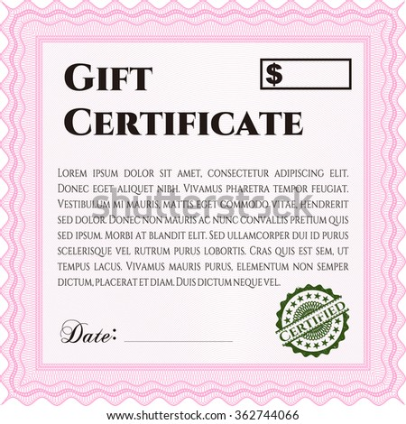 Vector Gift Certificate template. Excellent complex design. With linear background. Vector illustration.