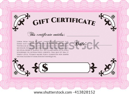 Vector Gift Certificate Template With Complex Linear Background Illustration Excellent Design
