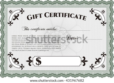 Vector Gift Certificate. With complex background. Customizable, Easy to edit and change colors. Excellent design.  - stock vector