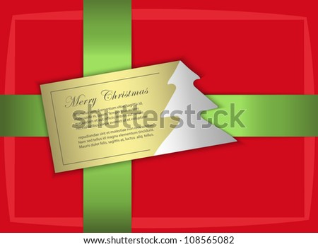 vector gift christmas gold label tree card