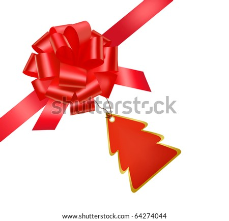 Vector. Gift red ribbon and bow with card. - stock vector