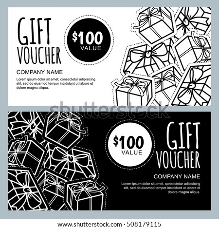 Vector Gift Voucher Template Gift Box Stock Vector (2018) 508179115 ...