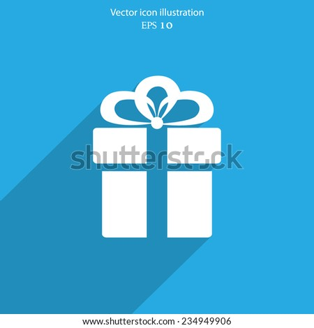 Vector gift web flat icon. Eps 10 illustration. - stock vector