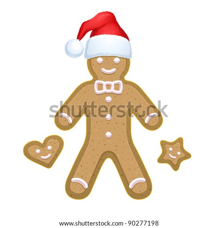 Vector Gingerbread man icon with heart and star shape bisquits. Gradient illustration