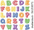 vector - Gingham Alphabet: red, yellow, blue, orange, green, purple. Original letter design for scrapbooks, albums, crafts & back to school projects. EPS8 organized in groups for easy editing. - stock vector