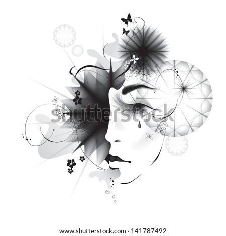 Vector girl abstract face eps10 - stock vector