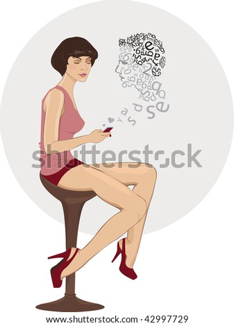 vector Girl dreaming of a virtual boy - stock vector
