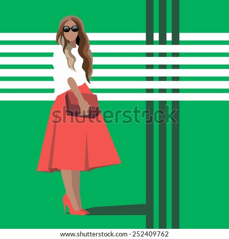 vector girl female stockings fashion illustration woman - stock vector