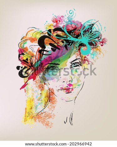 Vector Girl Illustration  - stock vector