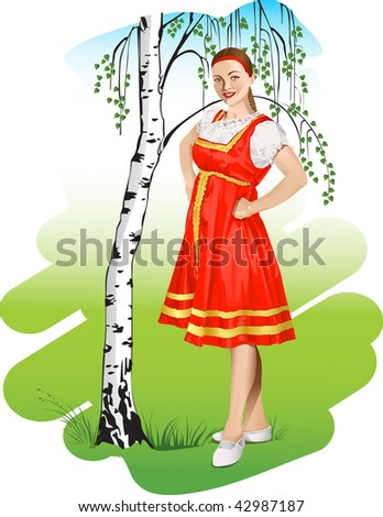 vector Girl in a russian national costume near birch - stock vector