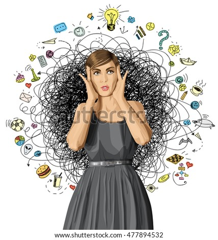 vector girl in dress, surprised and looking up