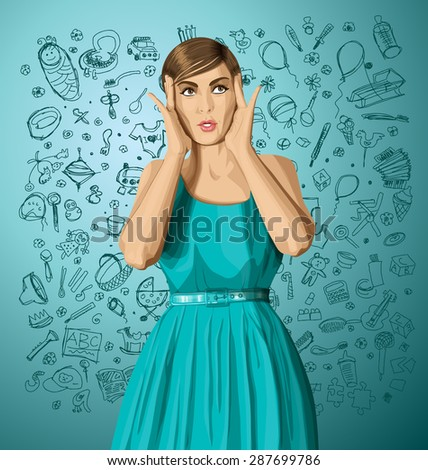 vector girl in dress, surprised and looking up, and thinking about pregnancy - stock vector