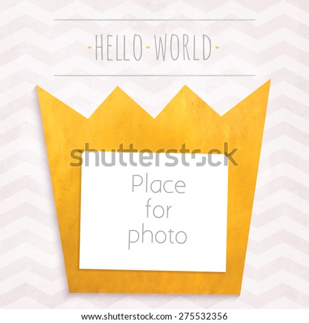 Vector girl page photo gold crown frame for album scrapbooking. Design template with gray watercolor background with zigzag pattern - stock vector
