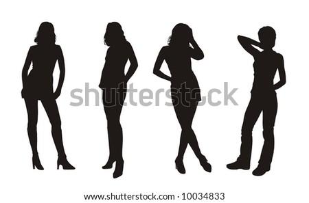 vector girl's silhouettes - stock vector
