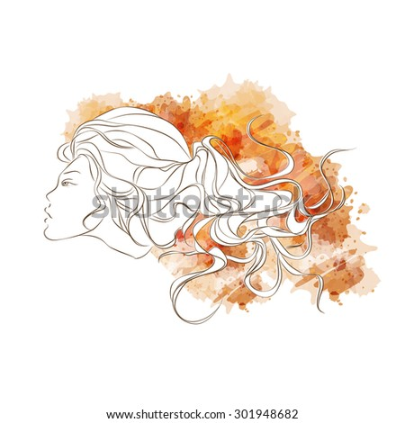 Vector girl watercolor style. Stylish Design for Beauty Salon Flyer or Banner. Girl Silhouette. Cosmetics. Beauty. Health and spa. Fashion themes. - stock vector