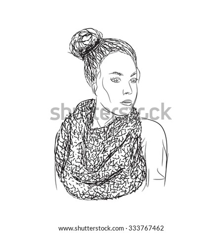 Vector  girl with black curly hair in scarf.