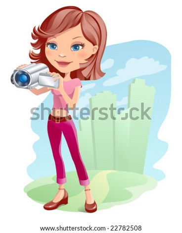 Vector girl with camera
