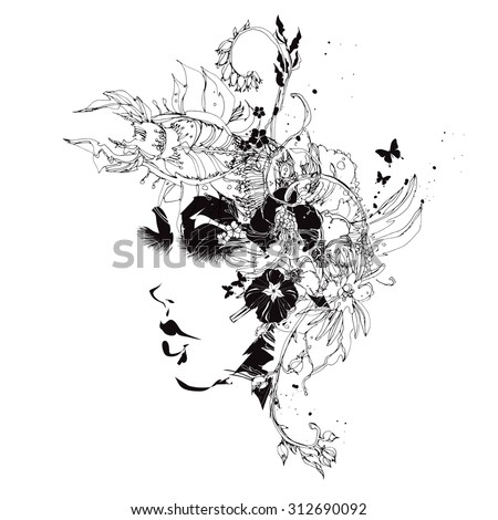 Vector girl with flowers black and white - stock vector