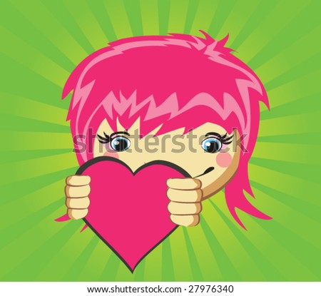 Vector girl with heart for design - stock vector