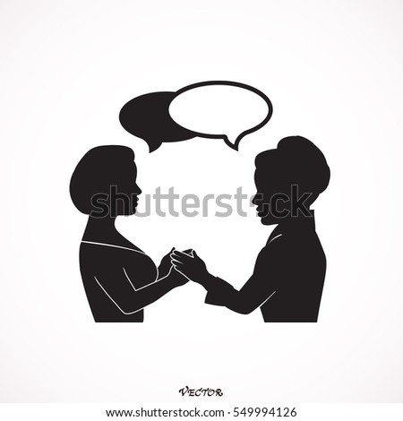 Vector girls friend consolation.  Icon Isolated on White Background.