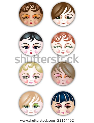 VECTOR Girls of different cultures. Cute smiling feminine face icons / buttons. - stock vector