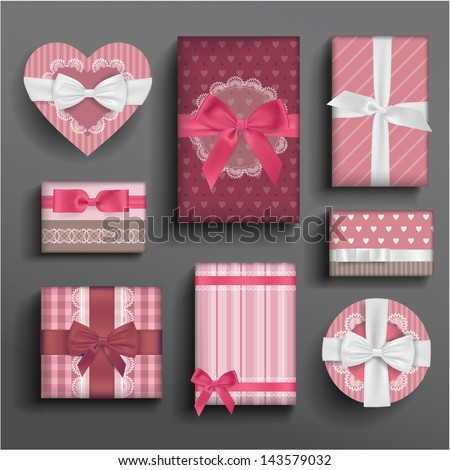 Vector girly romantic valentine's boxes and bows - stock vector